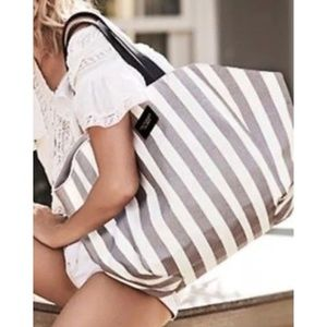 NEW Victoria's Secret Stripe Tote Weekender Bag